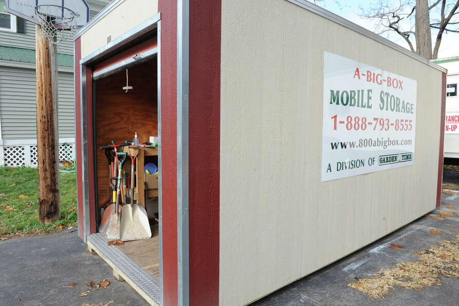 A storage unit holding tools outside the volunteer headquarters trailer on Tuesday, Oct. 30, 2012 in