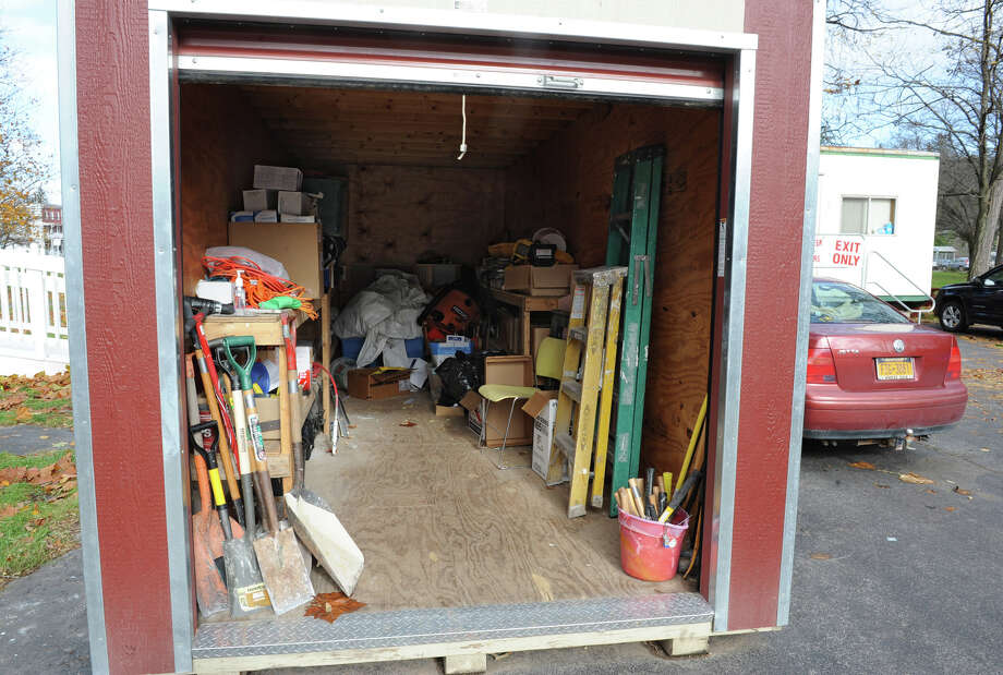 A storage unit holding tools outside the volunteer headquarters trailer on Tuesday, Oct. 30, 2012 in Schoharie, N.Y.  (Lori Van Buren / Times Union) Photo: Lori Van Buren
