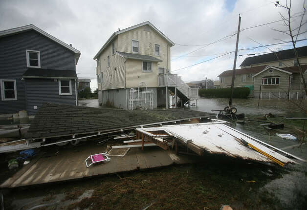A garage destroyed by Hurricane Sandy, on Point Beach Drive in Milford on Tuesday, October 30, 2012. Photo: Brian A. Pounds