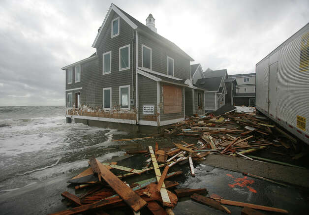 A waterfront home damaged by Hurricane Sandy on Waterbury Avenue in Milford on Tuesday, October 30, 2012. Photo: Brian A. Pounds