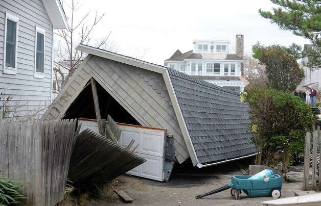 A garage destroyed during Hurricane Sandy Tuesday, Oct. 30, 2012 on Fairfield Beach Road in Fairfield, Conn. Photo: Autumn Driscoll