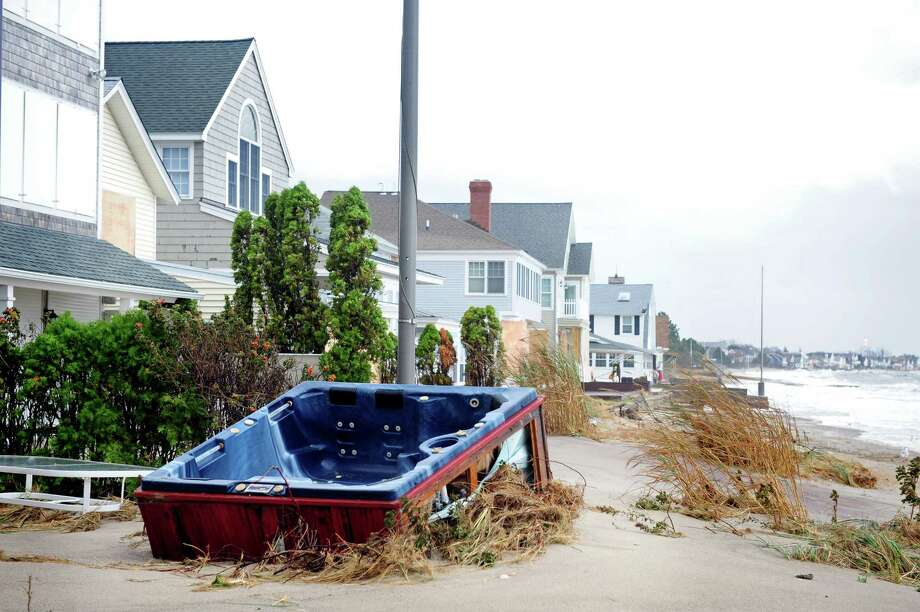Damage from Hurricane Sandy Tuesday, Oct. 30, 2012 on Fairfield Beach Road in Fairfield, Conn. Photo: Autumn Driscoll