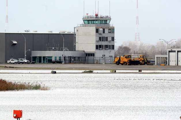 Flood water remains on the runways at Sikorsky Memorial Airport in Stratford, Conn. following Hurricane Sandy Oct. 30th, 2012. Photo: Ned Gerard