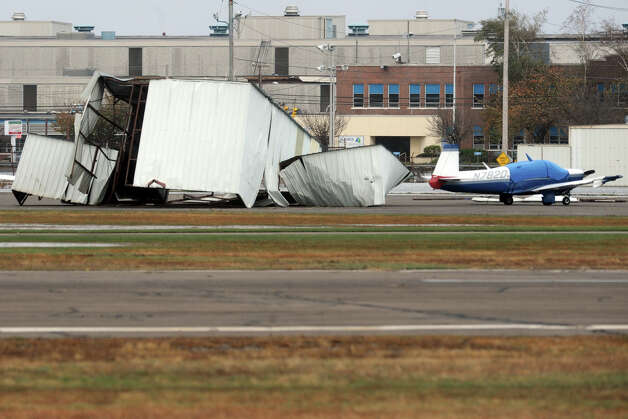 Damage to a hangar at Sikorsky Memorial Airport in Stratford, Conn. following Hurricane Sandy Oct. 30th, 2012. Photo: Ned Gerard
