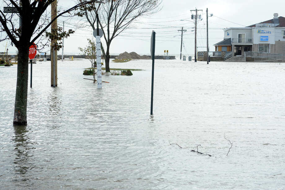 Many street remained flooded in the Lordship section of Stratford, Conn. following Hurricane Sandy Oct. 30th, 2012. Photo: Ned Gerard