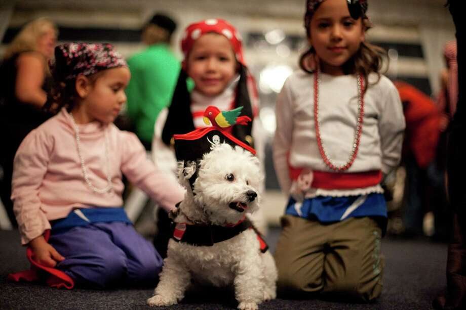 From left, Michelle Trudeau, 3, Daniel Trudeau, 4, and Nicole Trudeau, 5, pose with their pup, Mini, during the CityDog Magazine inaugural Howl-at-the-Moon Muttmixer at the Woodmark Hotel in Kirkland on Tuesday, October 30th, 2012. Dozens of dogs in costume attended the event. Photo: JOSHUA TRUJILLO / SEATTLEPI.COM