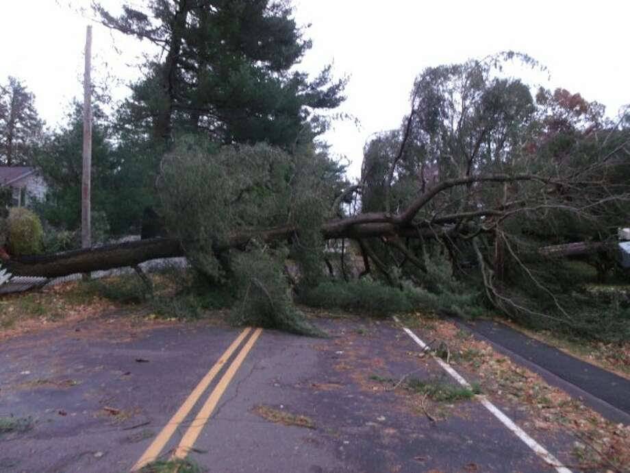 7am after storm Hillspoint Road in Westport.  (Todd Tracy)