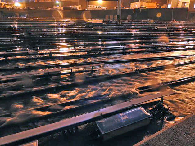 In a photo made available by the Metropolitan Transportation Authority on Tuesday, Oct. 30, 2012 floodwaters stream into the Long Island Rail Road's West Side Yard in New York during superstorm Sandy. All trains had been removed from the yard prior to the arrival of the storm. Photo: Metropolitan Transportation Authority