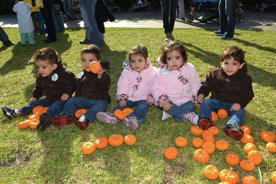 The Real-Mayorga quintuplets are now two years old and ready to celebrate Halloween. From left to right are Joel, Isaac, Matilde, Priscilla and Aaron Real-Mayorga. Photo: Courtesy Memorial Hermann-Texas Medical Center