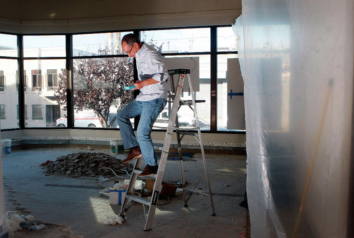 Candy maker Chuck Siegel constructing his new retail space in San Francisco, Calif., on Wednesday, October 24, 2012.