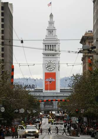 The Ferry Building is decorated with a championship banner for the Giants' World Series victory parade on Market Street in San Francisco, Calif. on Wednesday, Oct. 31, 2012. Photo: Paul Chinn, The Chronicle