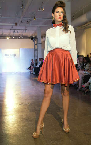 A design by Joey Ramirez, winner of the Current Collections:The SA Emerging Designer Competition, an event of Fashion Week San Antonio, at Blue Star Contemporary Art Center, Tuesday, October 23, 2012 Photo: J. MICHAEL SHORT, FREELANCER / THE SAN ANTONIO EXPRESS-NEWS