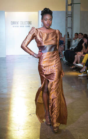 A design by Latoya Chenelle Hudson at Current Collections:The SA Emerging Designer Competition, an event of Fashion Week San Antonio, at Blue Star Contemporary Art Center, Tuesday, October 23, 2012 Photo: J. MICHAEL SHORT, FREELANCER / THE SAN ANTONIO EXPRESS-NEWS