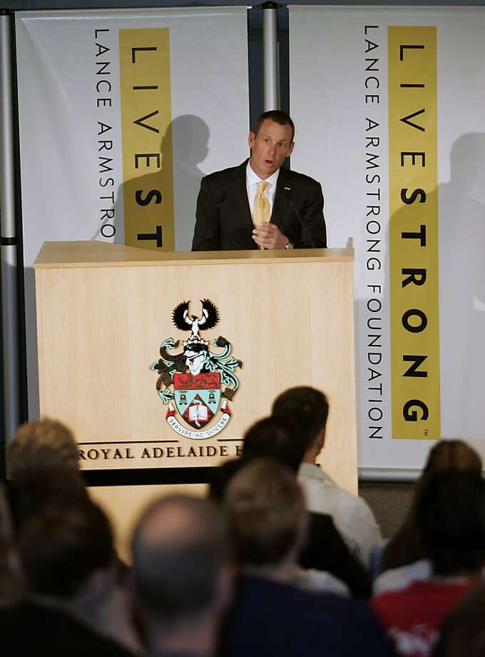 This Jan. 19, 2009 file photo shows Lance Armstrong speaking during the launch of the Livestrong Global Cancer campaign  Royal Adelaide Hospital in Adelaide, Australia. Armstrong said Wednesday, Oct. 17, 2012, he is stepping down as chairman of his Livestrong cancer-fighting charity so the group can focus on its mission instead of its founder's problems. The move came a week after the U.S. Anti-Doping Agency released a massive report detailing allegations of widespread doping by Armstrong and his teams when he won the Tour de France seven consecutive times from 1999 to 2005. Photo: Aman Sharma, Associated Press