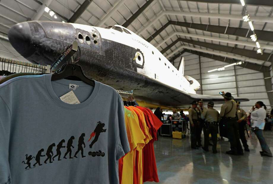 The space shuttle Endeavour exhibit opens to the public with a grand opening ceremony at the new Samuel Oschin Pavilion of the California Science Center on Tuesday in Los Angeles. Photo: Kevork Djansezian, Getty Images / 2012 Getty Images