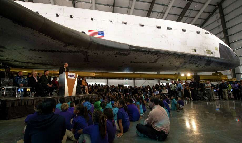 More than 500 California Science Center School students attend the space  shuttle Endeavour exhibit grand opening ceremony at the new Samuel  Oschin Pavilion of the California Science Center on Tuesday in  Los Angeles. Photo: AP