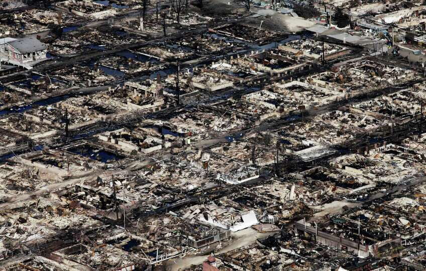This aerial photo shows the Breezy Point neighborhood, in New York, Wednesday, Oct. 31, 2012, where
