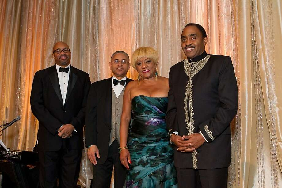 "The 7th annual gala for the Museum of the African Diaspora, themed ""Global Reflections, Global Connections,"" was held at the Palace Hotel Oct. 26, 2012. Honored (from left to right) were Rodney Williams of Moet Hennessy, who received the patron of culture award, Erby Foster, who accepted the corporate leadership award on behalf of the Clorox Co.,  Brenda Wright of Wells Fargo Bank, who was given the visionary leadership award and Emmett Carson of the Silicon Valley Community Foundation, who was given the legacy in philanthropy award. Photo: Drew Altizer Photography"