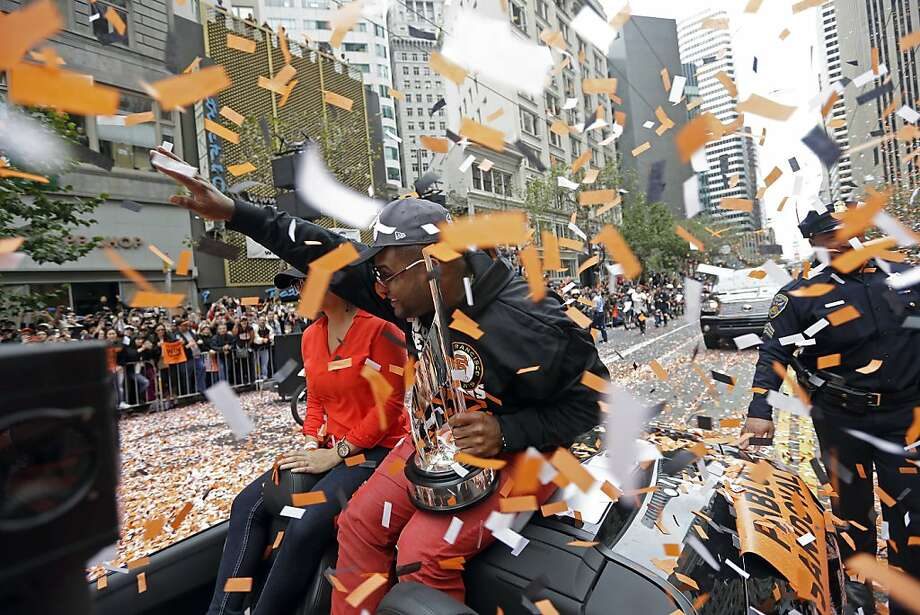 San Francisco Giants third baseman and World Series MVP Pablo Sandoval is showered with confetti on Market Street while riding in the baseball team's World Series victory parade in San Francisco, Wednesday, Oct. 31, 2012. (AP Photo/Marcio J. Sanchez) Photo: Marcio J. Sanchez, Associated Press