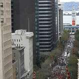 A parade celebrating the Giants' World Series victory proceeds up Market Street in San Francisco, Calif. on Wednesday, Oct. 31, 2012.