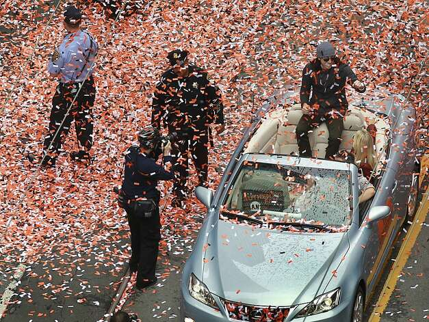 Pitcher Tim Lincecum is showered with confetti during the Giants' World Series victory parade on Market Street in San Francisco, Calif. on Wednesday, Oct. 31, 2012. Photo: Paul Chinn, The Chronicle