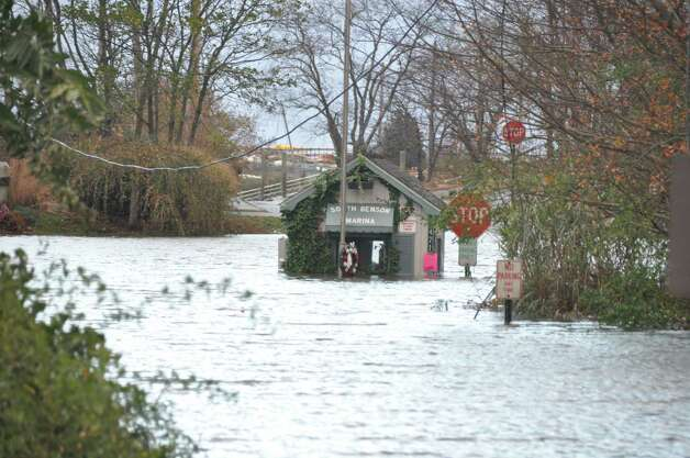 Deep flood waters at the entrace to South Benson Marina Tuesday morning meant one needed a boat to get in or out. Photo: Contributed Photo, Matthew Jamison/Contributed Phot
