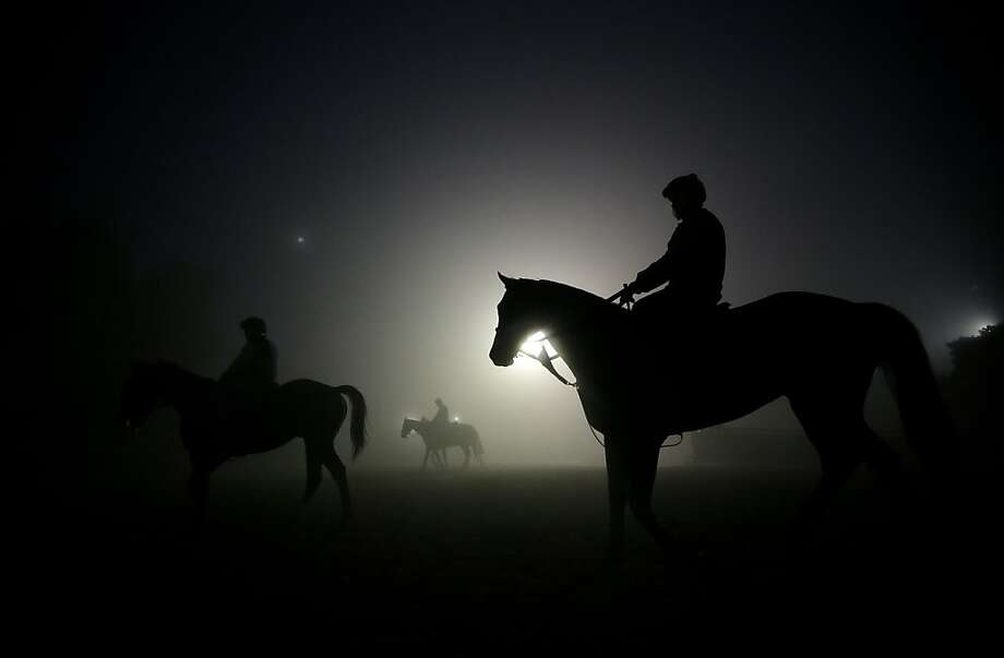 Dawn workout: Exercise riders walk their horses during training sessions for the Breeders' Cup at Santa Anita Park in Arcadia, Calif. Photo: Jae C. Hong, Associated Press