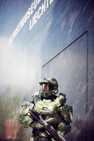 Master Chief stands guard at the Kunst Museum Liechtenstein during the HALO 4 launch by Xbox 360 on October 29, 2012 in Balzers, Liechtenstein. Photo: Getty Images, Getty Images For Halo By Xbox 36 / 2012 Getty Images