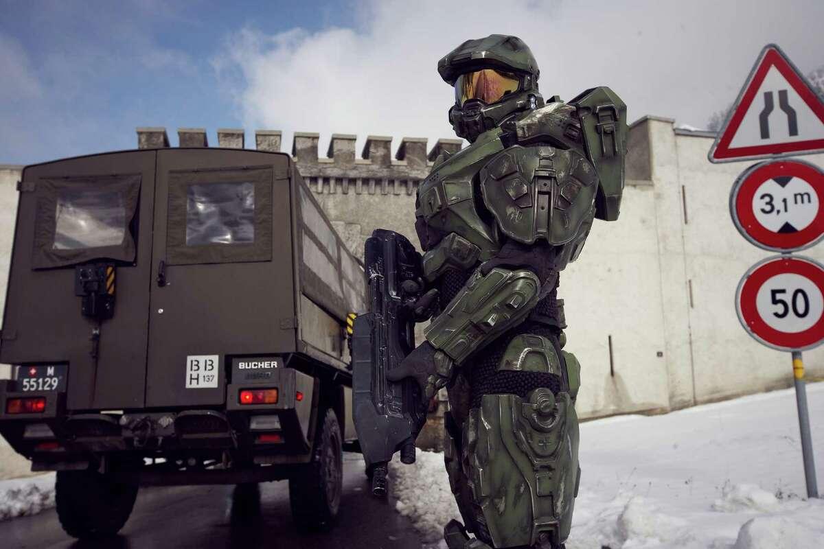 Master Chief stands guard at the Liechtenstein border during the HALO 4 launch by Xbox 360 on October 29, 2012 in Balzers, Liechtenstein.