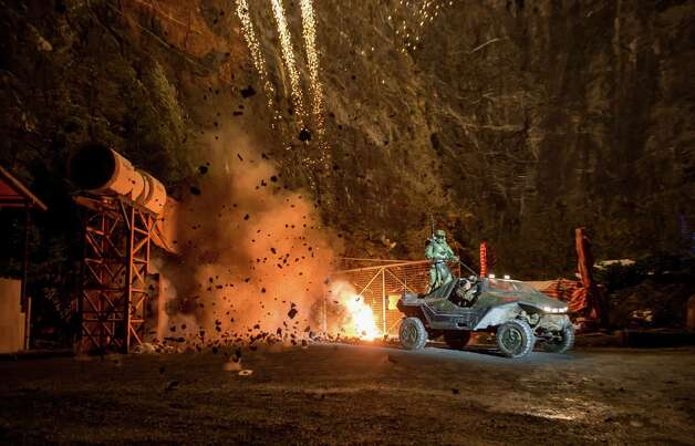 Master Chief exits the mine in Balzers Quarry during the HALO 4 launch 