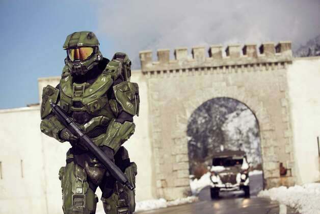 Master Chief stands guard at the Liechtenstein border during the HALO 4 launch by Xbox 360 on October 29, 2012 in Balzers, Liechtenstein. Photo: Getty Images For Halo By Xbox 360 / 2012 Getty Images