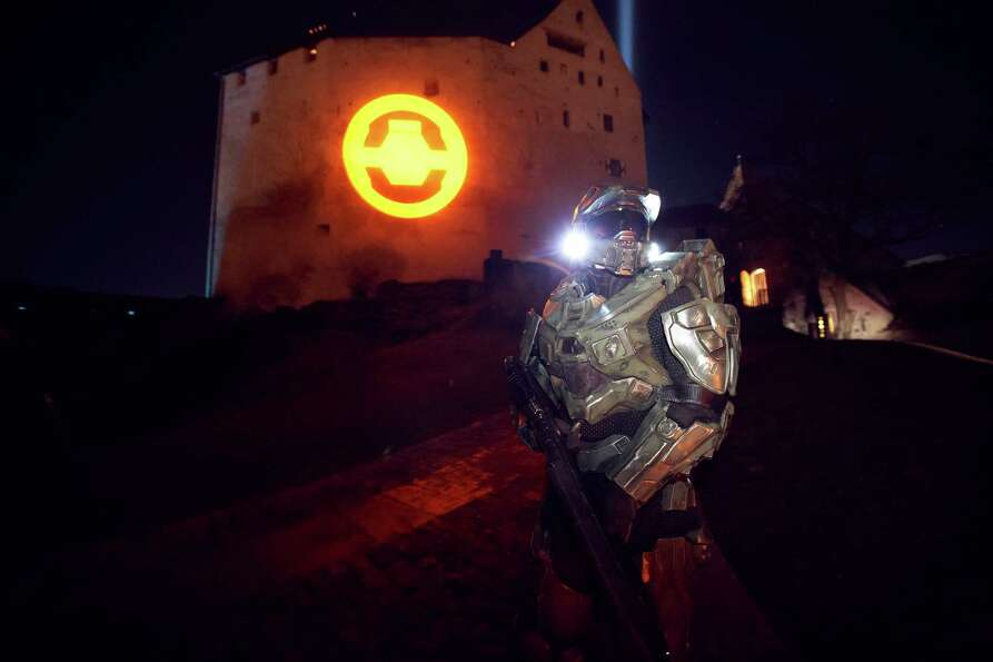 Master Chief stands guard at the Balzers Castle during the HALO 4 launch by Xbox 360 on October 30,