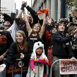 Fans reacted to candy being thrown there way early in the parade. The San Francisco Giants celebrated their second World Series title in three years with a parade down Market Street Wednesday October 31, 2012.