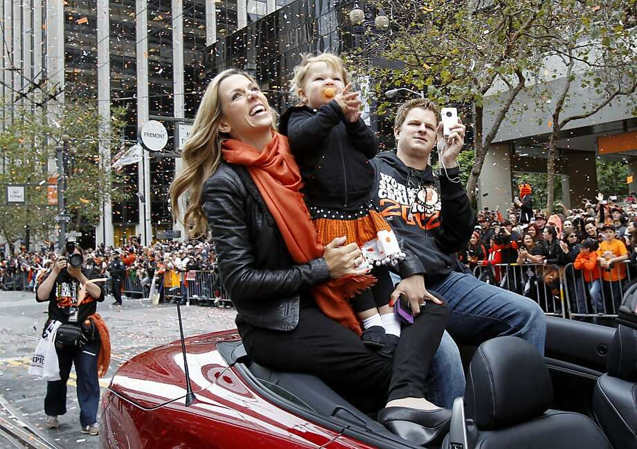 Matt Cain, and his family, looked out onto the scene on Market Street. The San Francisco Giants celebrated their second World Series title in three years with a parade down Market Street Wednesday October 31, 2012. Photo: Brant Ward, The Chronicle