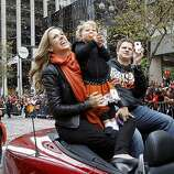Matt Cain, and his family, looked out onto the scene on Market Street. The San Francisco Giants celebrated their second World Series title in three years with a parade down Market Street Wednesday October 31, 2012.