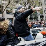 Marco Scutaro pointed to the crowd with a big grin as he made his way down Market Street. The San Francisco Giants celebrated their second World Series title in three years with a parade down Market Street Wednesday October 31, 2012.