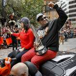 Pablo Sandoval and Kseniya Blayakherova shared the backseat with his MVP trophy. The San Francisco Giants celebrated their second World Series title in three years with a parade down Market Street Wednesday October 31, 2012.