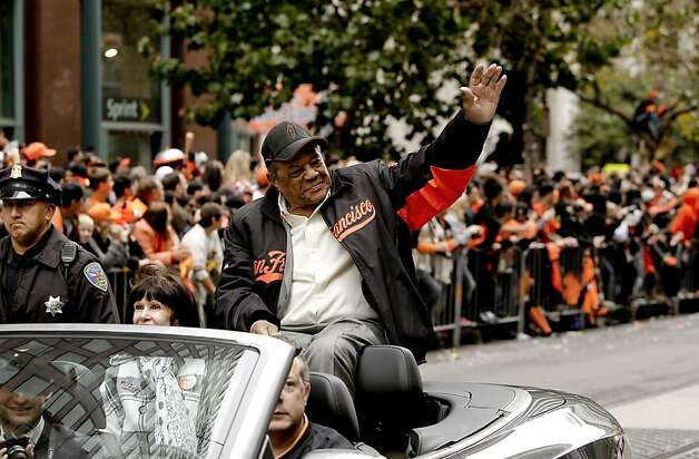 Giants' great Willie Mays waves to fans as the San Francisco Giants celebrate their World Series Championship with a parade up Market Street in downtown San Francisco, Calif., on Wednesday Oct. 31, 2012. Photo: Michael Macor, The Chronicle