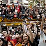 Fans on Market Street pulled out their camera phones as there heroes passed by. The San Francisco Giants celebrated their second World Series title in three years with a parade down Market Street Wednesday October 31, 2012.