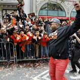 Pablo Sandoval greeted the fans after departing from his parade car on Market Street. The San Francisco Giants celebrated their second World Series title in three years with a parade down Market Street Wednesday October 31, 2012.