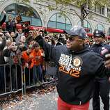 Pablo Sandoval departed from his parade car to greet the fans on Market Street. The San Francisco Giants celebrated their second World Series title in three years with a parade down Market Street Wednesday October 31, 2012.