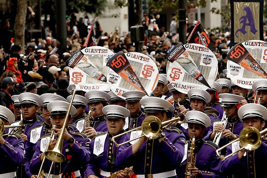 Riordan High School band marches along as the San Francisco Giants celebrated their World Series Championship with a parade up Market Street in downtown San Francisco, Calif., on Wednesday Oct. 31, 2012. Photo: Michael Macor, The Chronicle