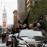 Giants pitcher Jeremy Affeldt, wife Larissa and sons wave to fans during the World Series victory parade on Wednesday, October 31, 2012 in San Francisco, Calif.