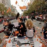 as the San Francisco Giants celebrate their World Series Championship with a parade up Market Street in downtown San Francisco, Calif., on Wednesday Oct. 31, 2012.