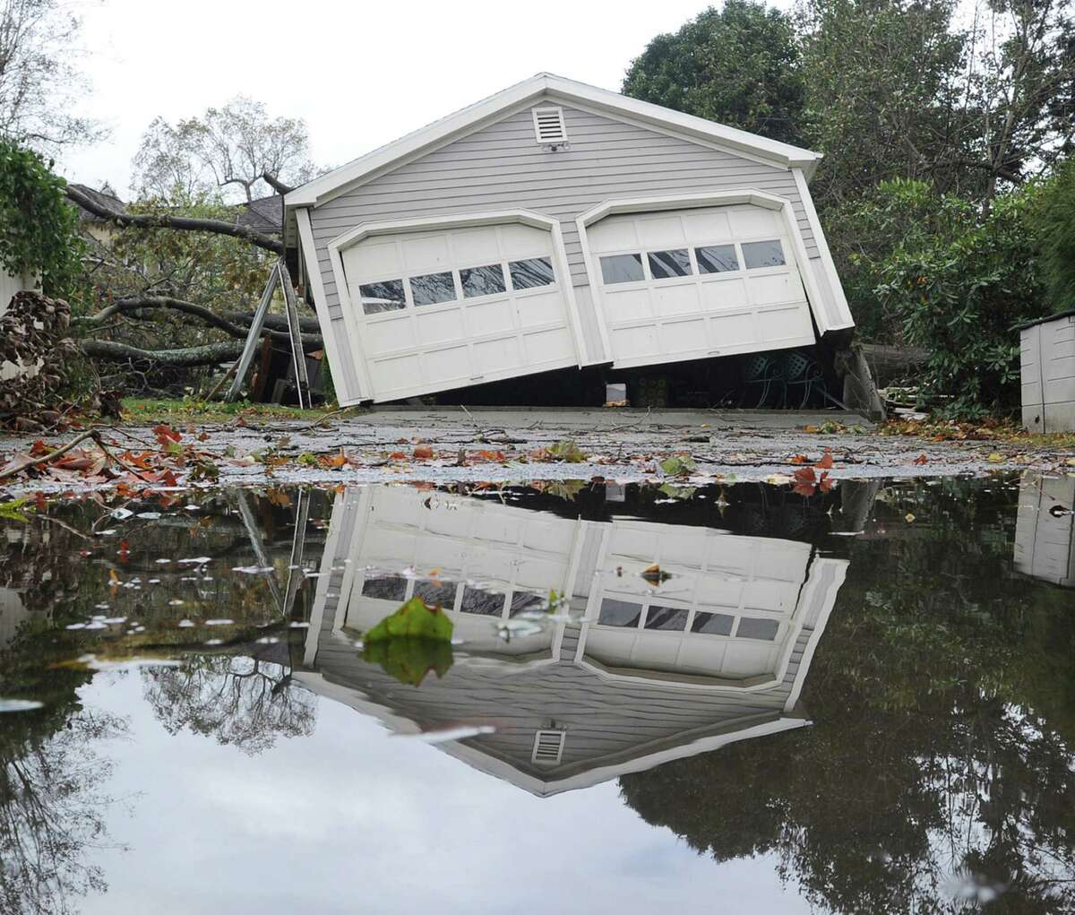A garage off its foundation on Binney Lane during the aftermath of Hurricane Sandy in Old Greenwich, Tuesday, Oct. 30, 2012. Click through for more scenes from Superstorm Sandy's path through Connecticut.