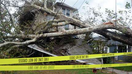 A house on Grovers Avenue is destroyed by a fallen tree from Hurricane Sandy Wednesday, Oct. 31, 2012 in Bridgeport, Conn.