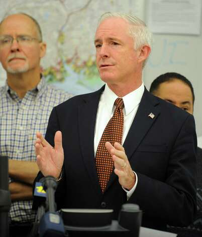 Mayor Bill Finch discusses the city's status following Hurricane Sandy during a press conference Wednesday, Oct. 31, 2012 at the Bridgeport Emergency Operations Center in Bridgeport, Conn. Photo: Autumn Driscoll, Connecticut Post / Connecticut Post