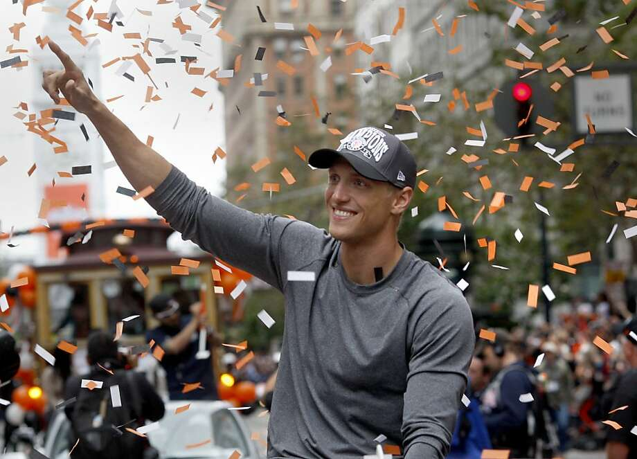 A clean shaven Hunter Pence waved to the crowd. The San Francisco Giants celebrated their second World Series title in three years with a parade down Market Street Wednesday October 31, 2012. Photo: Brant Ward, The Chronicle