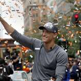 A clean shaven Hunter Pence waved to the crowd. The San Francisco Giants celebrated their second World Series title in three years with a parade down Market Street Wednesday October 31, 2012.