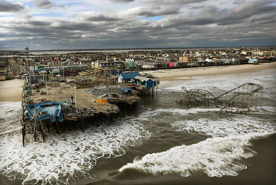 An amusement park in Seaside Heights, N.J., sits in ruins after the onslaught of Hurricane Sandy this week. Photo: Mario Tama, Getty Images
